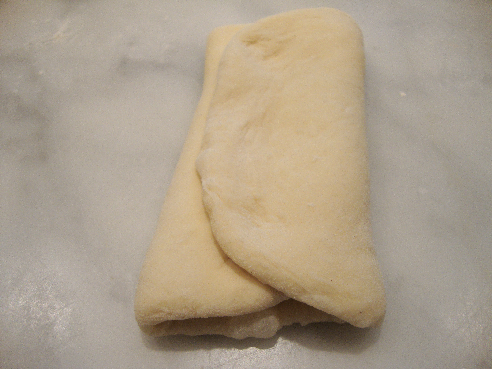 Dough for Bun Folded in Thirds