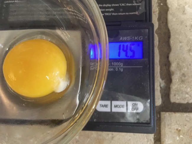 Costco Yolk weighing 14.5 grams.