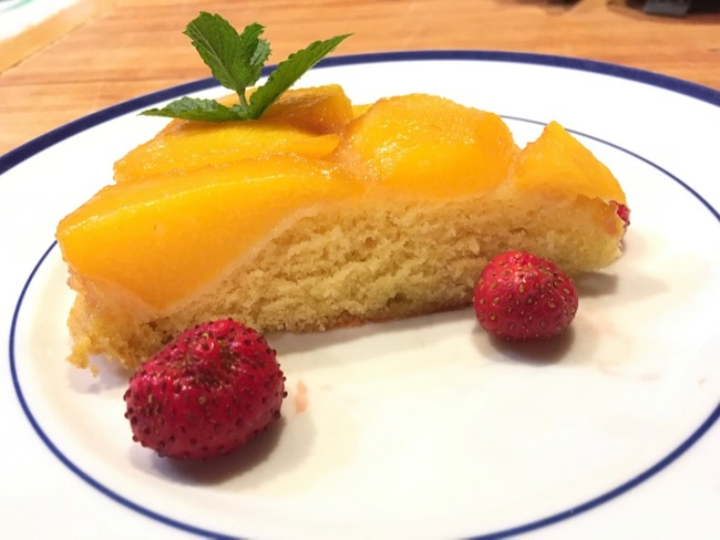 Peachy Topsy-Turvy Cake