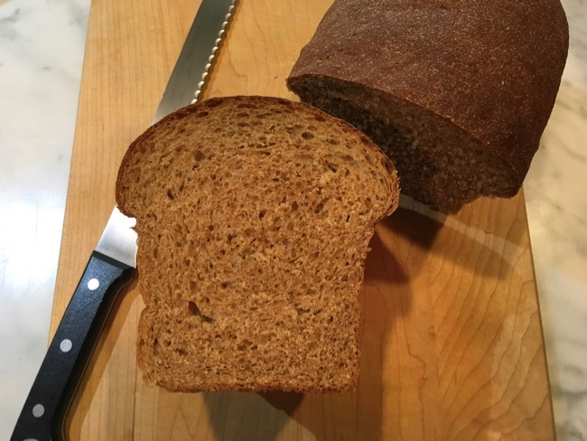 100% Whole Wheat Food Processor Sandwich Bread