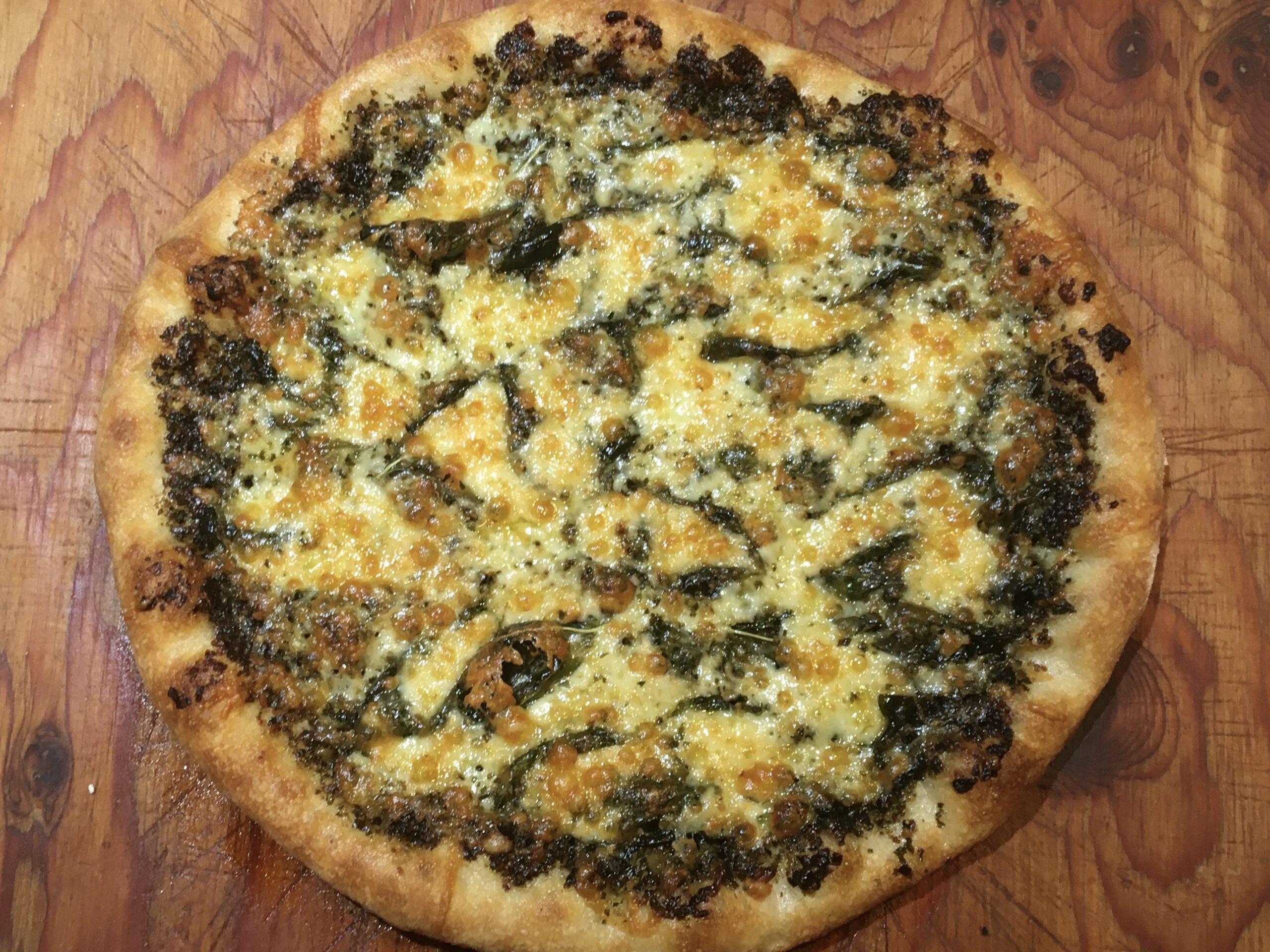 Baked pesto pizza